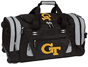 Georgia Tech Rolling Duffel Bag Official College Logo Yellow Jackets Logo Duffle Travel / Gym / Sports Overnight Luggage Bags