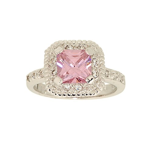 Classic Engagement Style Ring in Pink Princess Cut Cubic Zirconia Size 8
