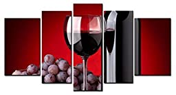 Canval prit painting Wine Wall Art a Cup of Wine and Wine Bottle with Some Grapes 5 Panels Picture on Canvas