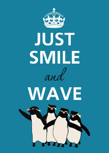 Rectangle Refrigerator Magnet - Keep Calm - Just Smile and Wave Penguins (Penguin Fridge compare prices)