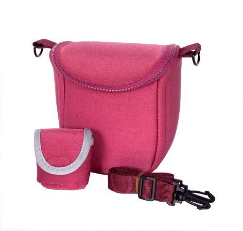 Big Dragonfly New Arrivals Camera Camcorder Bag Case Compatible For Sony Micro-Single Camera Nex Telephoto Lens With Shoulder Neck Strap Belt And Battery Bag (Plum Code Bbf)