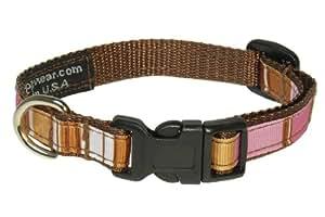 Sassy Dog Wear 6-12-Inch Brown/Multi Stripe Dog Collar, X-Small