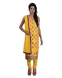 Mumtaz Sons Women's Cotton Unstitched Dress Material (MS111419D,Yellow)