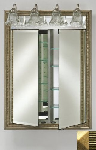 Afina Corporation DD-LT2434RMERGD 24 in.x 34 in.Recessed Double Door Cabinet with Traditional Lights - Meridian Gold-Gold