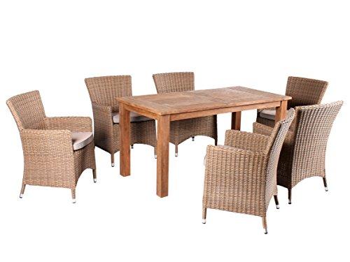 Trendy-Home24-7tlg-Essgruppe-Sitzgruppe-160-x-80-cm-Teakholz-hochwertiges-Polyrattan-Sessel-Sitzgruppe-Teaktisch-Gartenmbel-beige