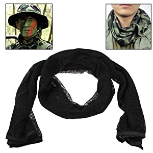 Tactical Multi-functional Scrim Scarf Face Veil Mask (Black) from Clixsy