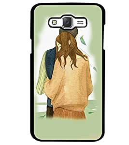 Fuson Premium One Tight Hug Metal Printed with Hard Plastic Back Case Cover for Samsung Galaxy J7