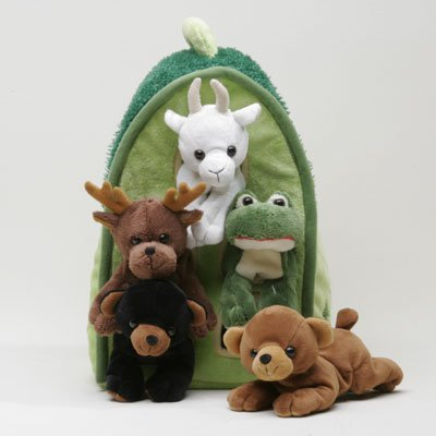 Plush Forest Animal House with Animals - Five (5) Stuffed Forest Animals ( Brown Bear, Black Bear, Moose, Frog, Mountain Goat) in Play Forest Carrying House