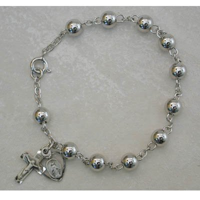 6MM BEAD ALL STERLING SILVER ADULT ROSARY BRACELET WOMENS