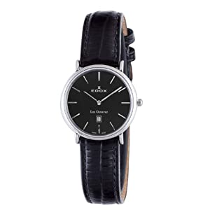 Edox Women's 26013 3P NIN Les Genevez Black Leather Date Watch