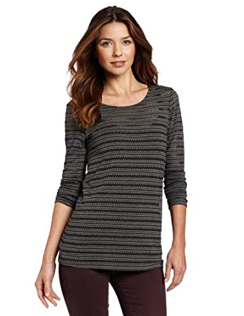 Only Hearts Women's Eyelet Jersey Tunic Top/Charcoal/Large