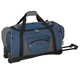 "Adventurer Duffel Collection- 22"" Rolling Duffel  in Navy and Black"