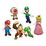 6pcs Set Super Mario Bros Mario Luigi Princess Peach Yoshi Toad Dk Figure Toy