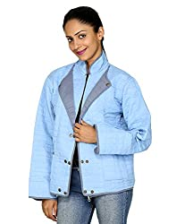 Rajrang Women's Indian Handmade Reversible Quilted Jacket (Blue, Gray, Large)
