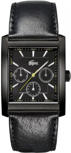 Lacoste Berlin Black Dial Black Leather Strap Mens Watch 2010589