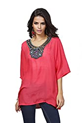 Imported Womens Embroidery Half-Sleeve Plus Size Autumn Loose Blouses Shirt Red 3XL