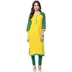 Luck In Women's Cotton Straight Kurti (LIN103YW_Yellow_XXL)
