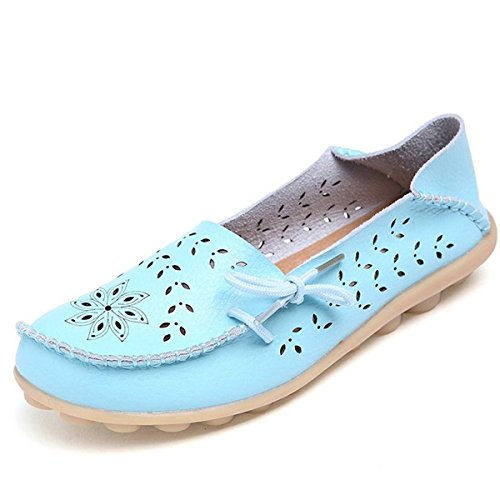Joansam Womens Summer Hollow Out Carving Casual Leather Driving Flat Loafers Shoes JSS20SB-41