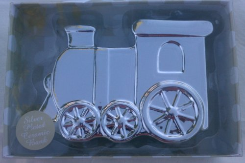 Train Silver Plated Ceramic Bank