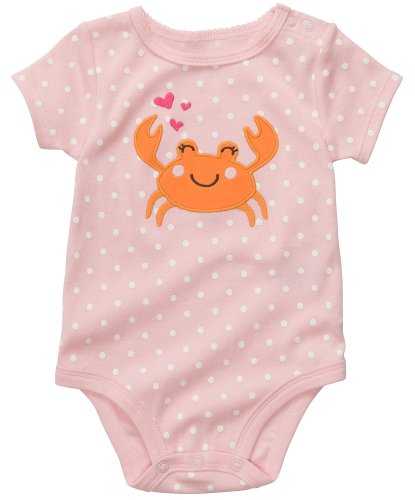 Carters Lovely Crab Bodysuit PINK 3 Mo