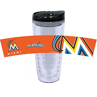 MLB Miami Marlins Tritan Tumbler with PVC and Lid, 16-Ounce, Team Color