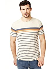 XXXL North Coast Pure Cotton Engineered Striped T-Shirt