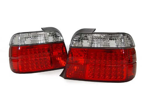 A Pair Of Depo Red And Clear Lense Full Led Tail Lights - Bmw 3-Series E36 3Dr 1992-1999