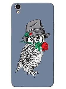 Omnam White Owl Carrying Rose For Valentine Printed Designer Back Cover Case For Oppo F1 Plus