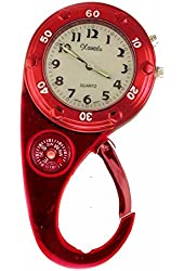 Clip on Watch Bag Pocket Watch W/compass & Back Light- Red