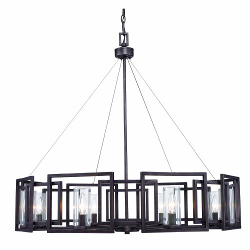 B006OCNN2K Golden Lighting 60688GMT  Chandelier with Clear Glass Shades,  Gunmetal Bronze Finish