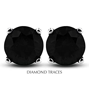1.27 Carat Round Natural Diamond AGI Certified Black Ideal Cut 14k White Gold 4-Prong Setting Basket Style Studs Earrings