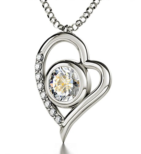 Silver Heart Pendant - I Love You Necklace Inscribed in 12 Languages in 24k Gold on White Swarovski Crystal, 18