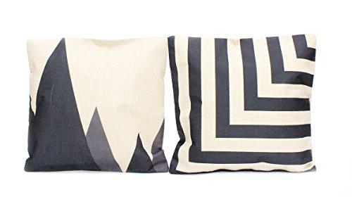 Kissenbezug Nova 40x40cm Kissenhülle schwarz grau beige Ethno Berge Dreiecke Leinen Optik Kissen Dekokissen -