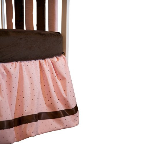 "Go Mama Go Designs 16"" Pink with Chocolate Polka Dot Dust Ruffle with Chocolate Satin Trim, Chocolate/Pink"