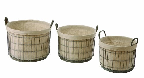 Creative Co-Op DA0376 Tin Basket Set with Fabric Liners
