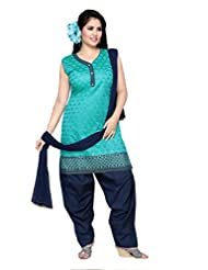 Ritu Creation Women's New Silk Stitched Patyala Suit With Embroided Work(Blue)