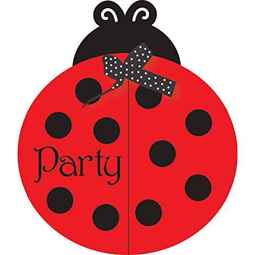 "Club Pack Of 150 Red And Black Ladybug Fancy Gate Fold Invitations 4.75"" front-47872"
