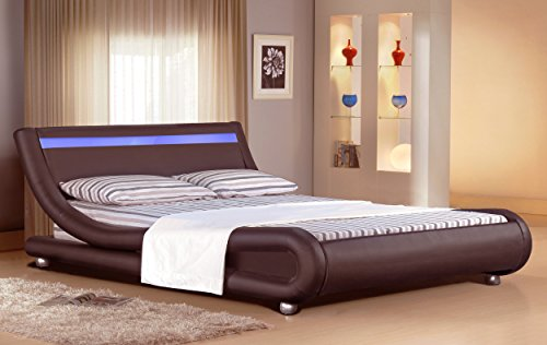 Inspirational Buy Cheap Comfy Living Faux Leather Bed Frame with LED Colour Light Strip in ft Brown
