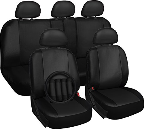 Oxgord 17pc Set Faux Leather Black Auto Seat Covers Set - Airbag Compatible - 50/50 or 60/40 Rear Split Bench - 5 Head Rests - Universal Fit for Car, Truck, Suv, or Van - FREE Steering Wheel Cover (Mazda 3 Leather Seat Covers compare prices)