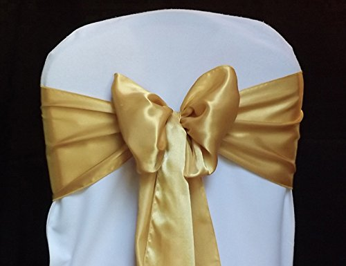 MDS Pack of 100 satin chair sashes bow for wedding and Events Supplies Party Decoration chair cover sash -Gold
