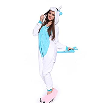 erwachsene blau gr l damen herren einhorn kostuem kigurumi kostuem pyjama schlafanzug jumpsuit. Black Bedroom Furniture Sets. Home Design Ideas