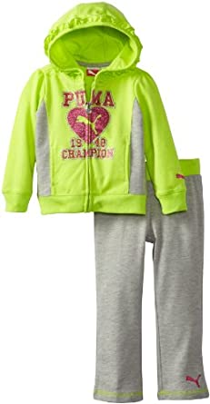PUMA Little Girls' Toddler Champion Hoodie Set, Lemon Lime, 3T