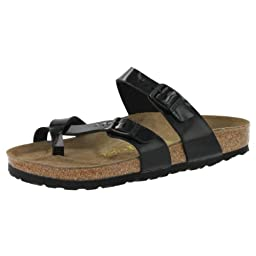 Birkenstock Women\'s Mayari Adjustable Toe Loop Cork Footbed Sandal Black 40 M EU