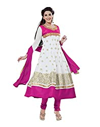 Lookslady Brand Women's Clothing Georgette White Semi Stitched Salwar Kamiz Dupatta Suit | Quality Checked | Genuine Product | Not a ready made dress