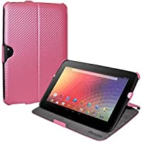 Amzer 95141 Shell Portfolio Case Baby Pink Carbon Fiber Texture For Samsung Nexus 10, Google Nexus 10