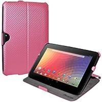 Amzer 95141 Shell Portfolio Case Baby Pink Carbon Fiber Texture for Samsung Nexus 10, Google Nexus 10