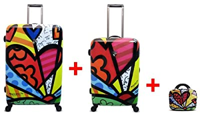 Heys USA - 3pcs. - SET 100 GBP Discount - Britto A Day, High-quality designer artist luggage set - 66 cm, 76 cm 4-wheels Trolley and Beauty Case by Heys USA