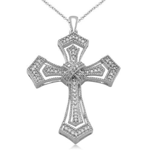Sterling Silver Milgrain Cross Diamond Pendant Necklace (1/5 cttw, I-J Color, I3 Clarity), 18