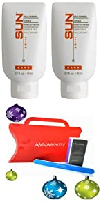 Sun x2 Giesee Strictly Faces Self-Tanning Lotion Dark 2.7oz (20037) + Aviva Red Nail kit