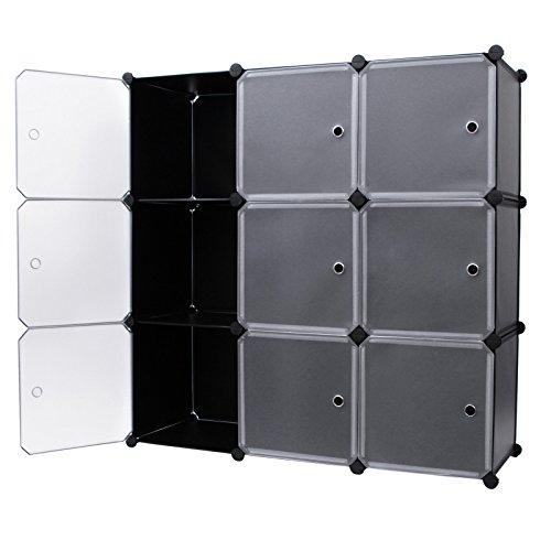 Songmics-Regalsystem-DIY-Cube-Aufbewahrung-Kleiderschrank-Badregale-Schuhregal-Bcherregal-Sideboard-Kommode-Schwarz-LPC116